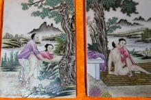 A Pair of Chinese Antique Famille Rose Porcelain Panel in the case