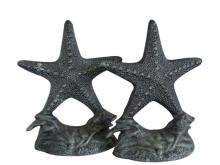 Nautical Decor Set of 2 - Seaworn Cast Iron Starfish Book Ends 10