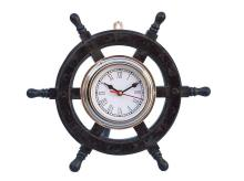 Nautical Deluxe Class Wood and Chrome Pirate Ship Wheel Clock 12