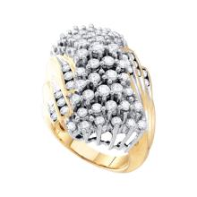NATURAL 3.00CTW ROUND DIAMOND LADIES CLUSTER RING 10KT Yellow Gold #54344