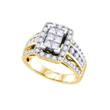 NATURAL 1.50CTW DIAMOND INVISIBLE RING 14KT Yellow Gold #71297