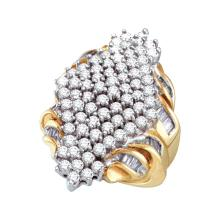NATURAL 3.00CTW DIAMOND LADIES CLUSTER RING 10KT Yellow Gold #54390