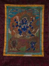 17/18th Century Chinese Tibetan Tanka of Mahakala