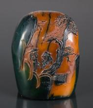 Signed Shoushan Stone Boulder Crow Skin Seal