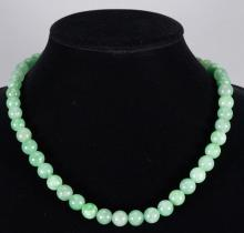 Chinese Light Green Jadeite 48 Bead Necklace