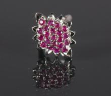 Large Marquise Shaped Ruby Cluster Style Ruby Ring