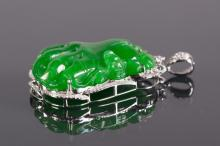 Chinese Emerald Green Jade Diamond Pendant