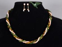 Chinese Green Jade Coral Tiger Eye Necklace Set