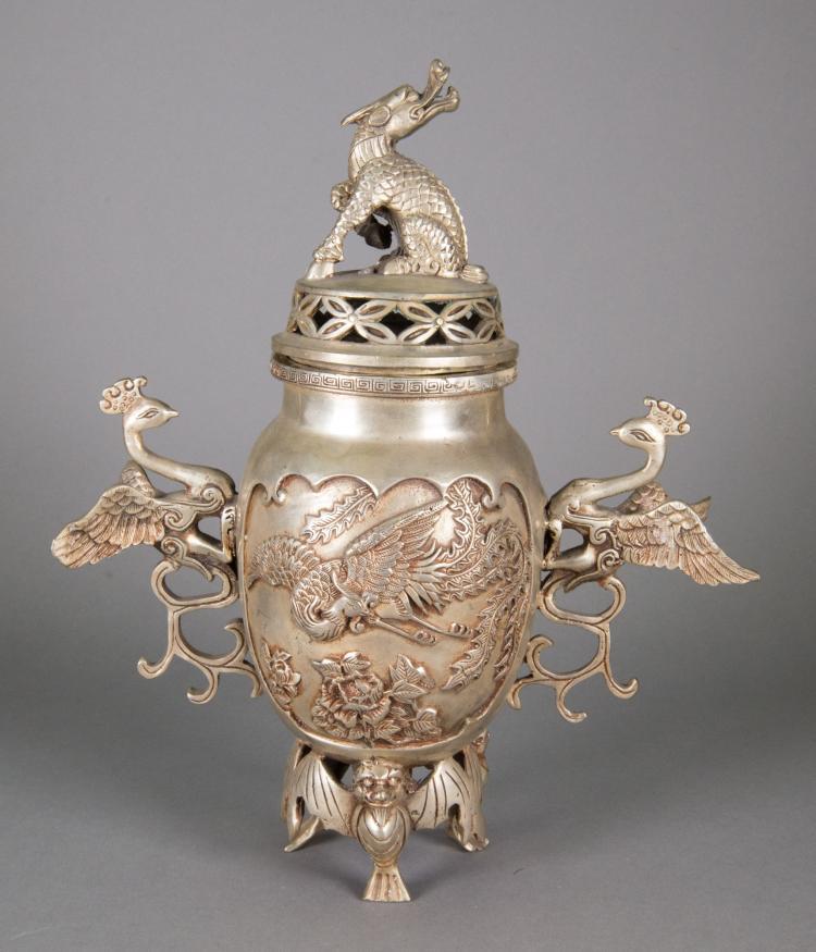 Chinese Silver Metal Phoenix Handle Waterpot