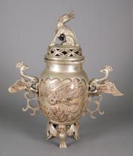 Chinese Silver Metal Phoenix Handle Waterpot