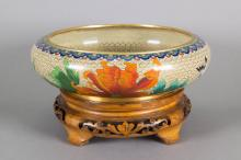 Chinese Bronze Cloisonne Large Bowl with Stand