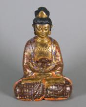 17/18th Century Red Lacquer Bronze of Gilt Buddha