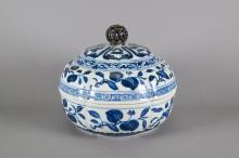 Chinese Blue & White Porcelain Bowl w Cover