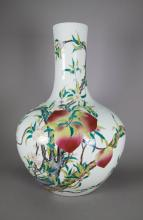 Chinese Famille Rose Peach Large Vase Qianlong