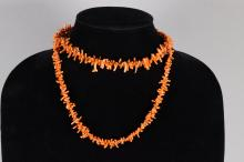 Chinese Natural Coral Carved Necklace