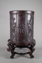 Chinese Zitan Bi Tong Brush Pot Qianlong Stand