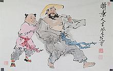 Chinese WC Painting Drunk Life Fan Zeng b. 1938
