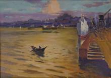 American Landscape Oil Painting on Board Framed