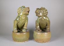 Pair of Chinese Green Pottery Lions Qing Period