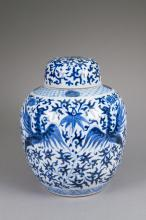 Chinese Blue & White Painted Phoenix Jar Kangxi