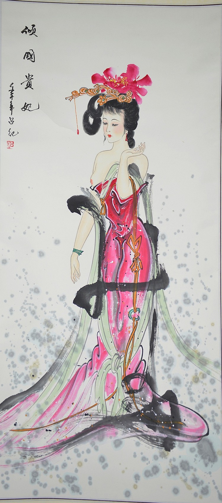 Chinese Watercolour on Paper Hanging Scroll