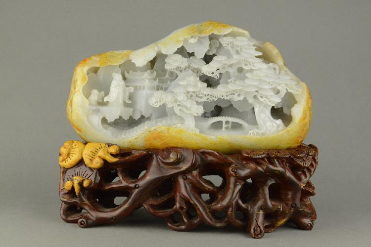 Very Fine Large Chinese Hetian Jade Carved Boulder