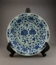 Chinese Qing Period Blue & White Porcelain Charger