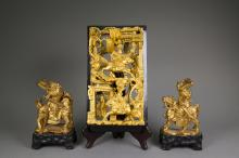 Chinese Gilt Wood Wall Carvings & Pair of Figures