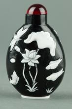 Chinese Peking Glass Snuff Bottle Carved Lotus