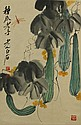Watercolour Painting of Cucumbers Signed Qi Baishi