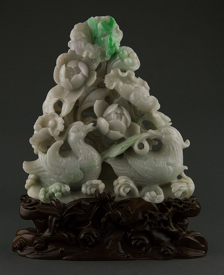 Chinese Celadon Jadeite Boulder Carved Ducks