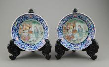 Pair of 19th Century Famille Rose Plate Tongzhi Mk