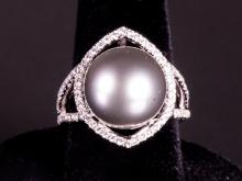 Sterling Silver Black South Sea Pearl Ring $1850