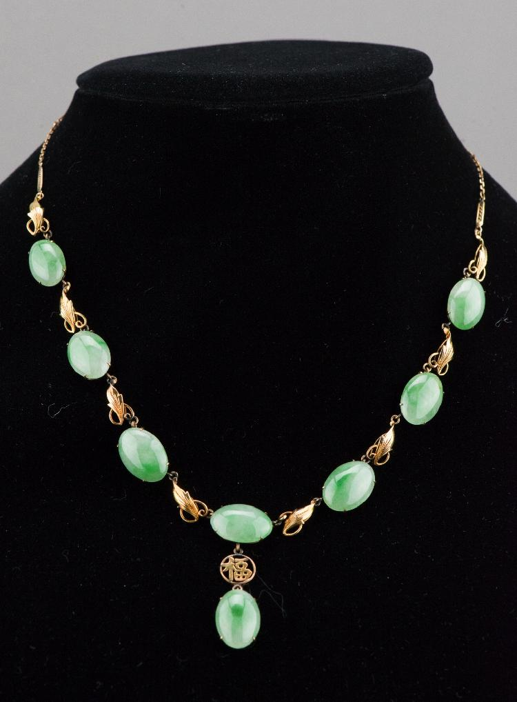 Fine Apple Green Jadeite w 14K Gold Necklace