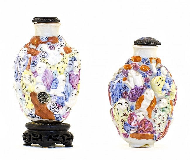 PAIR CHINESE ENAMEL PORCELAIN SNUFF BOTTLES