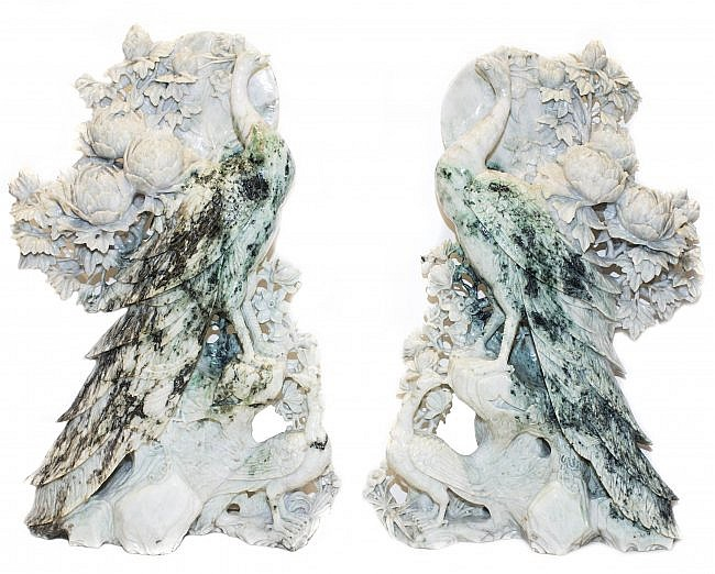 PAIR CHINESE CARVED JADE PHOENIX BIRDS