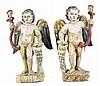 PAIR OF SPANISH COLONIAL CARVED AND PAINTED WINGED