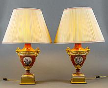 FINE PAIR OF ENGLISH PAINTED PORCELAIN URN-FORM LAMPS