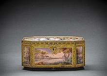 FRENCH GILT BRONZE MOUNTED PAINTED ENAMEL ON COPPER BOX