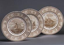 SET OF TWELVE WEDGE-WOOD AMER. SAILING SHIP PLATES