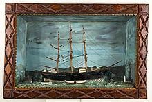 AMERICAN TRAMP ART FRAMED NAUTICAL DIORAMA