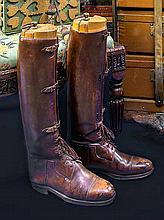 PAIR OF BROWN LEATHER RIDING BOOTS AND ANOTHER
