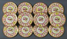 12 ROYAL DOULTON ORCHID PAINTED PORCELAIN PLATES
