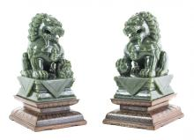PAIR CHINESE CARVED SPINACH GREEN JADE FOO DOGS