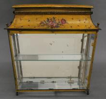 VICTORIAN TOLE PEINTE TABLE VITRINE, circa 1860