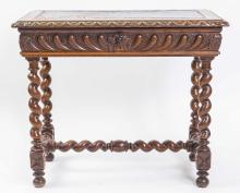 BAROQUE STYLE LEATHER-INSET OAK SIDE TABLE, 19TH C.