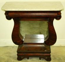 AMERICAN RESTURATION MARBLE TOP MAHOGANY SIDE TABLE,