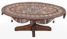 AMERICAN TRAMP ART OVAL LOW TABLE, EARLY 20TH C.