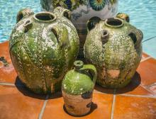 FIVE FRENCH PROVINCIAL EARTHENWARE JUGS, 19th/20th C.