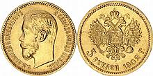 Russia. Nicholas II (1894-1917). Gold 5 Rouble,